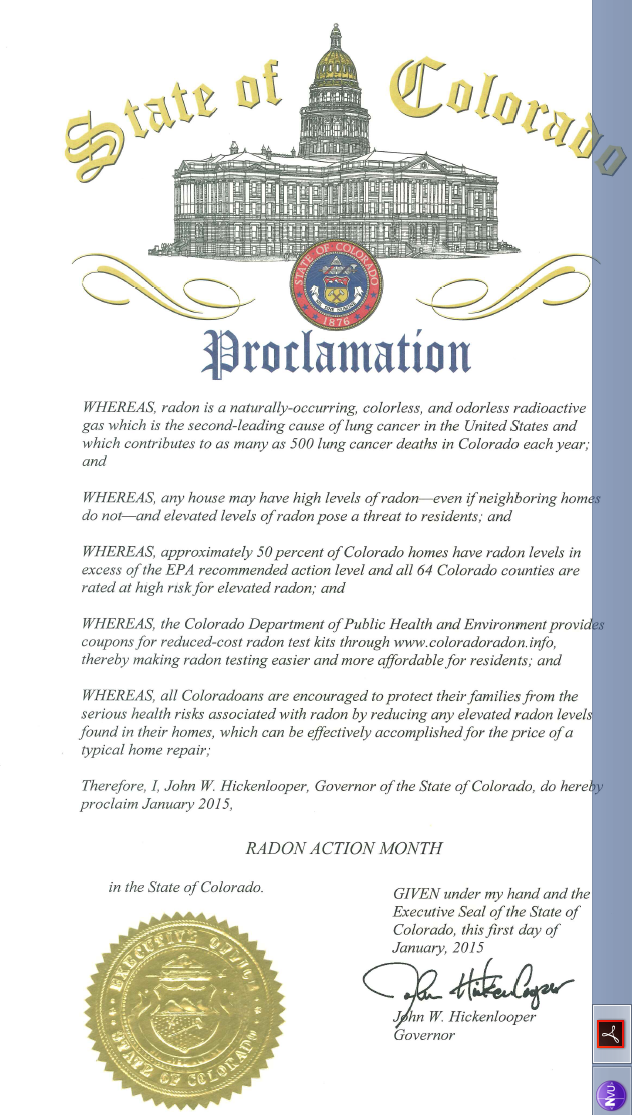 Colorado Proclamation January Radon Action Month, 2016