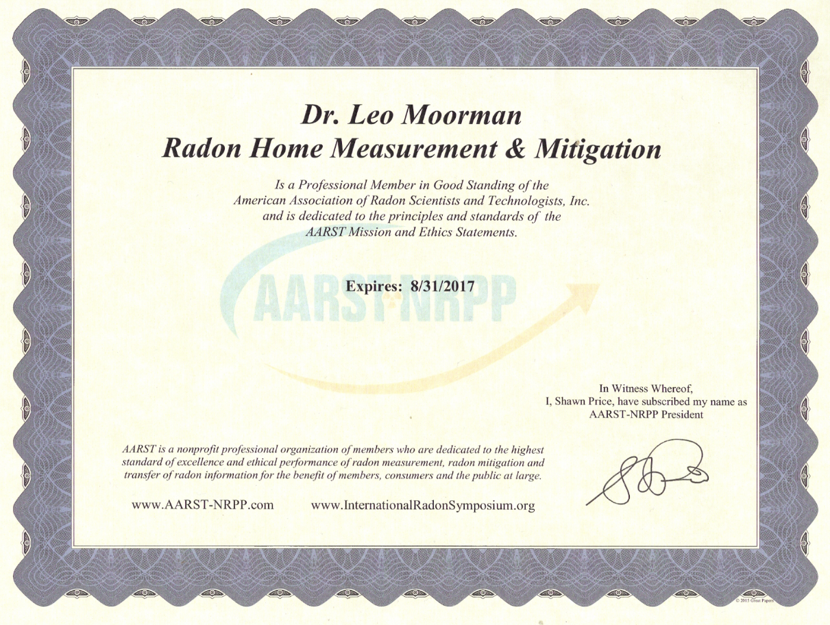AARST-NRPP Proof of Membership for our president, Dr. Leo Moorman