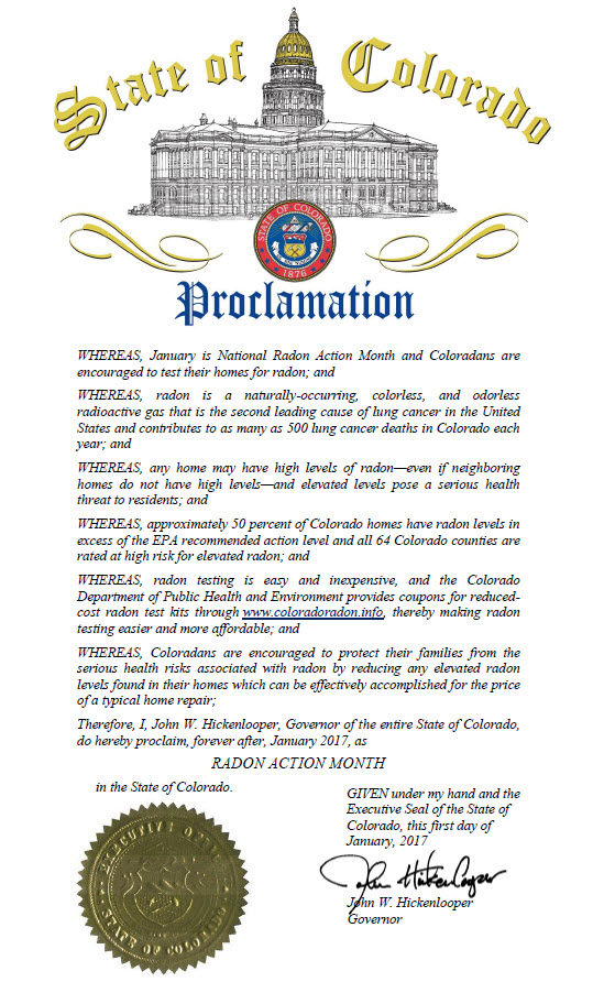 Colorado Proclamation by Governor Hickenlooper, January 2017