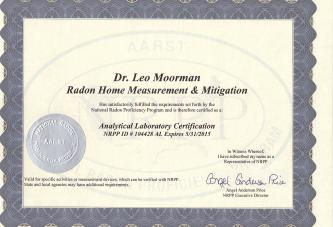 Radon laboratory Certification until May31, 2015